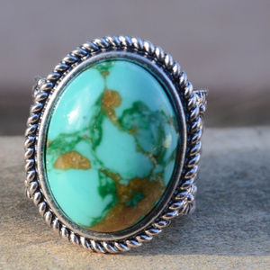 Jewelry - Silver Southwestern Tuquoise Ring Size 6 Wide Band